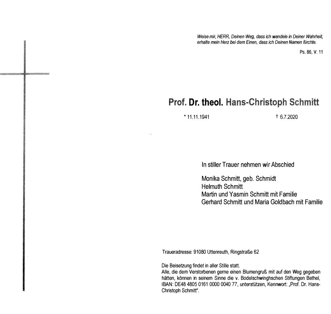 Traueranzeige Prof. Dr. Hans Christoph Schmitt